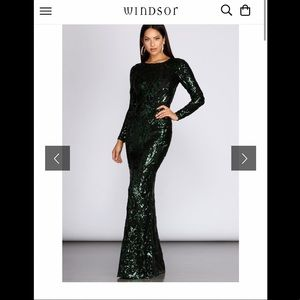 Long Sleeve Green and Black Sequin Dress